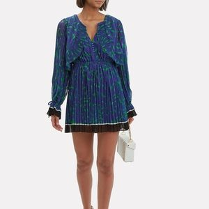 Self-Portrait Crescent Chiffon Pleated Cape Dress